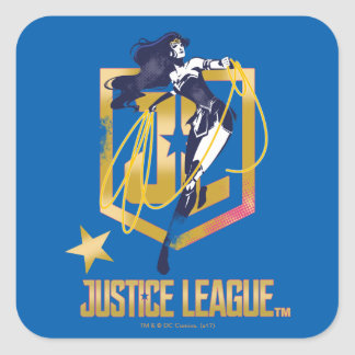 Justice League   Wonder Woman JL Logo Pop Art Square Sticker