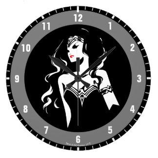 Justice League   Wonder Woman Noir Pop Art Large Clock