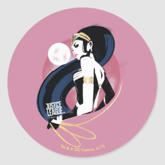 Justice League   Wonder Woman Profile Pop Art Classic Round Sticker