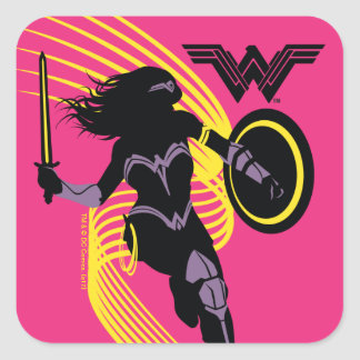 Justice League | Wonder Woman Silhouette Icon Square Sticker