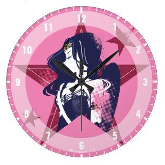 Justice League   Wonder Woman & Stars Pop Art Large Clock