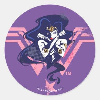 Justice League   Wonder Woman & Symbol Pop Art Classic Round Sticker