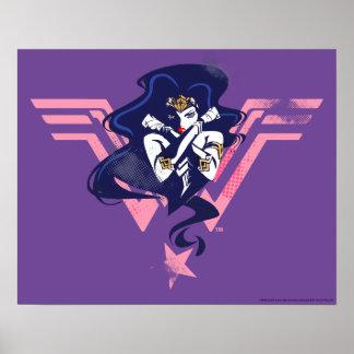 Justice League | Wonder Woman & Symbol Pop Art Poster