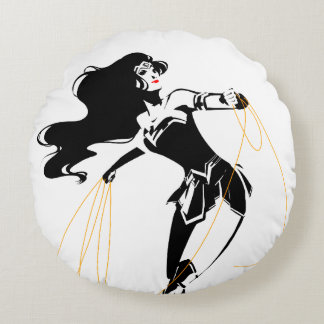 Justice League | Wonder Woman With Lasso Pop Art Round Cushion