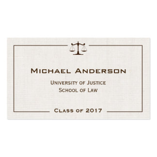 Justice of Scale Law Logo Elegant Linen Look Pack Of Standard Business Cards