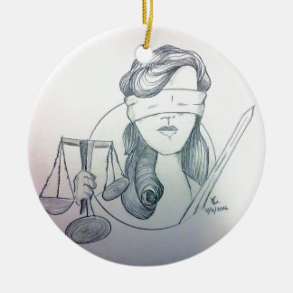 Justice Round Ceramic Decoration