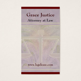 Justice Scales Elegant Purple Business Card