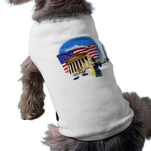 Justice Statue in front of American Flag Dog Tshirt