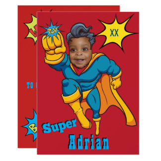 Justice Superhero Photo Template Birthday Invite