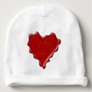 Justin. Red heart wax seal with name Justin Baby Beanie