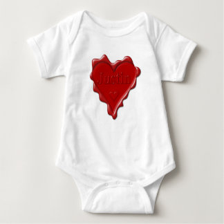 Justin. Red heart wax seal with name Justin Baby Bodysuit