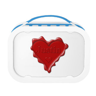 Justin. Red heart wax seal with name Justin Lunch Box