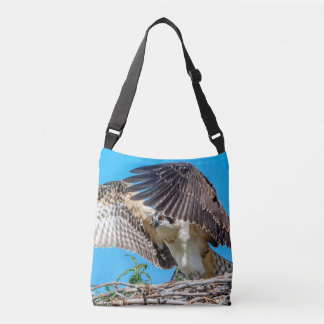 Juvenile Osprey in the nest Crossbody Bag