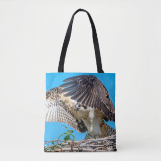 Juvenile Osprey in the nest Tote Bag