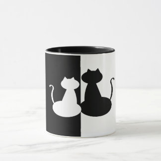 Juxtapose Black White Compare Cat Minimal Contrast Mug