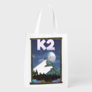 K2 Mountain travel poster Reusable Grocery Bag