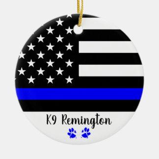 K9 Officer - Thin Blue Line - Police Dog Ceramic Ornament