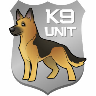 K9 Unit Cartoon German Shepherd Photo Sculpture Badge
