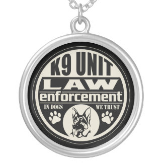 K9 Unit In Dogs We Trust Round Pendant Necklace
