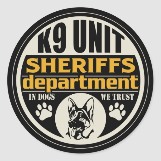 K9 Unit Sheriff's Department Round Sticker
