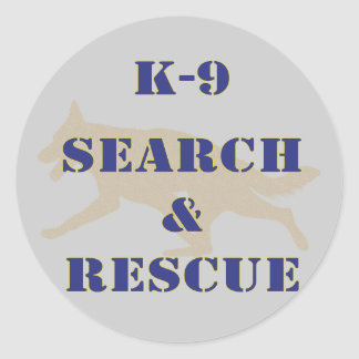 K-9 Search and Rescue GSD Round Sticker