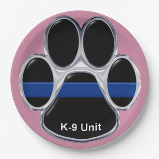 K-9 Unit Thin Blue Line 9 Inch Paper Plate