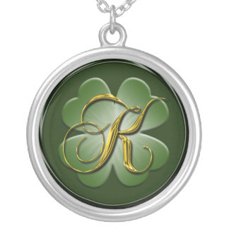 K Black Green Gold Monogram Initial Pendant K