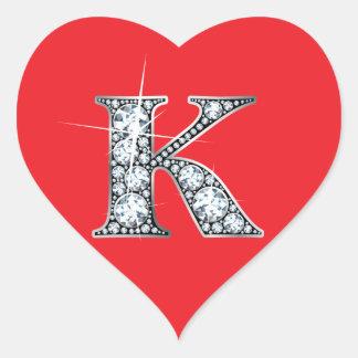 """""""K"""" Diamond Bling on Red Heart Sticker"""