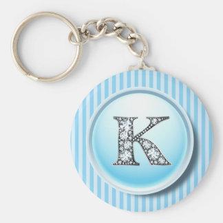 """K"" Diamond Bling on Vintage Blue Circle Frame Key Basic Round Button Key Ring"