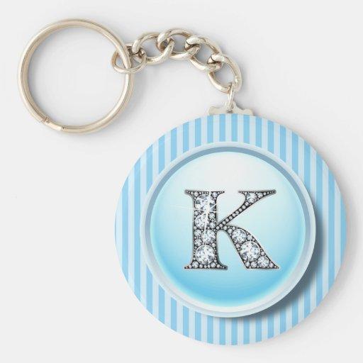 """K"" Diamond Bling on Vintage Blue Circle Frame Key Key Chain"