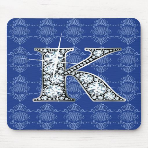 """K"" Diamond Bling with Knotted Damask Mousepad"