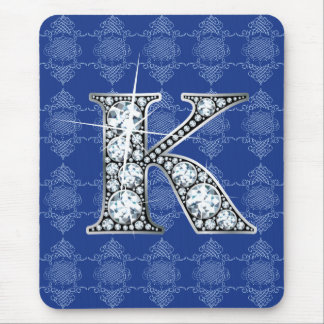 K Diamond Bling with Knotted Damask Mousepad