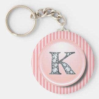 """""""K"""" Diamond Bling with Vintage Pink Circle Frame K Basic Round Button Key Ring"""