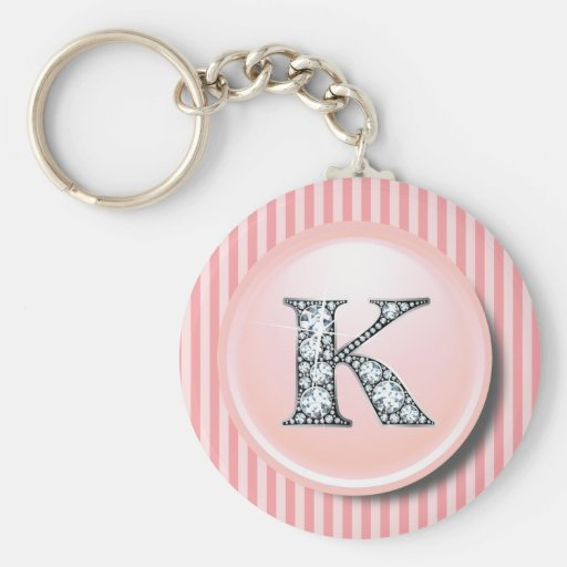 """K"" Diamond Bling with Vintage Pink Circle Frame K Keychain"