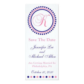 K Dot Circle Monogram Save The Date (Blue / Pink) Custom Announcements