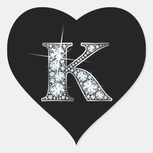 """""""K"""" Faux-""""Diamond Bling"""" on Black Heart Sticker"""