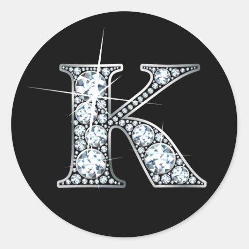 """""""K"""" Faux-""""Diamond Bling"""" Sticker"""