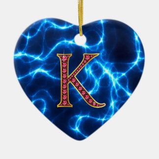 "K Faux-""Ruby"" Monogram  With Lightening Ceramic Ornament"