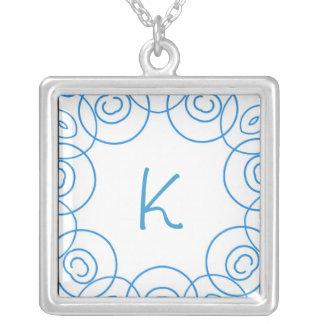 """K"" initial in Blue Scroll on White, Fun Design Jewelry"