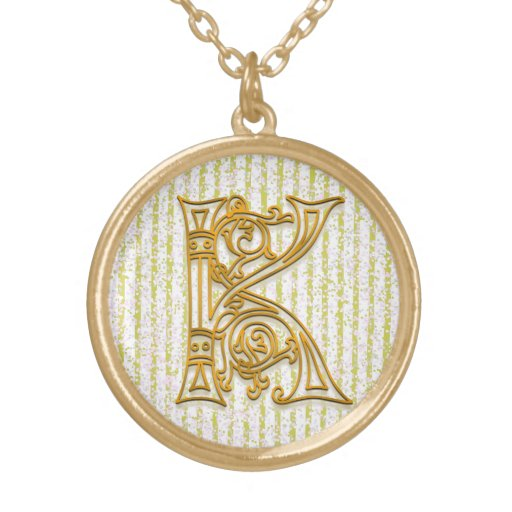 """K Initial Monogram """"Gold Pin Stripe"""" Necklace Personalized Necklace"""