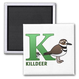 K is for Killdeer Square Magnet