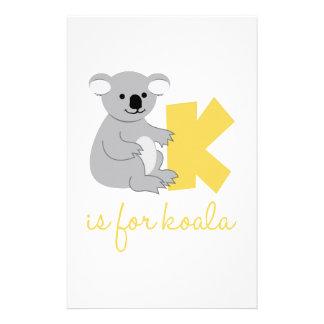 K Is For Koala Stationery Design