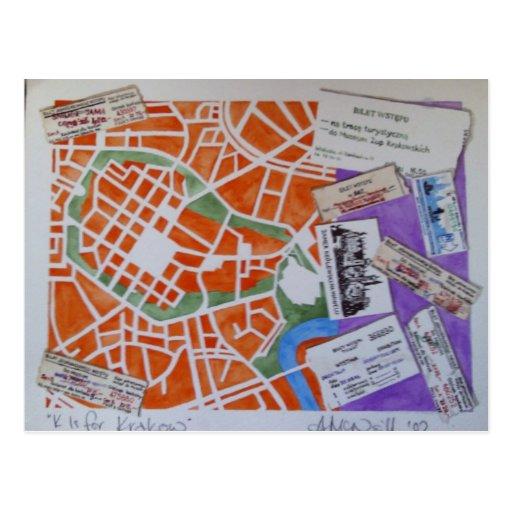 K is for Krakow postcard