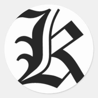 K-text Old English Round Sticker