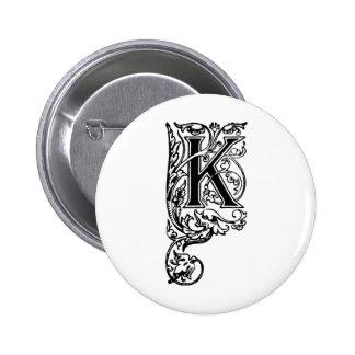 K The Decorative Letter 6 Cm Round Badge