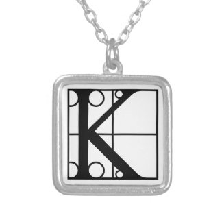 K- Typography Initial Square Pendant Necklace
