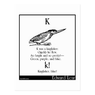 K was a kingfisher postcard