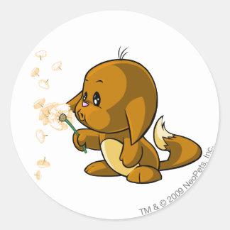 Kacheek Brown Round Sticker