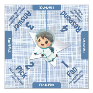 Kagan Like Manage Mat with Astronaut 5.25x5.25 Square Paper Invitation Card
