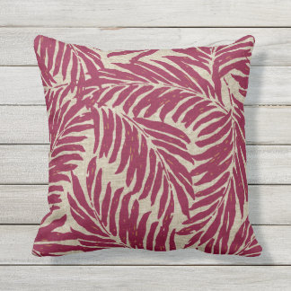 Kahanu Palms Hawaiian Linen Texture Outdoor Cushion